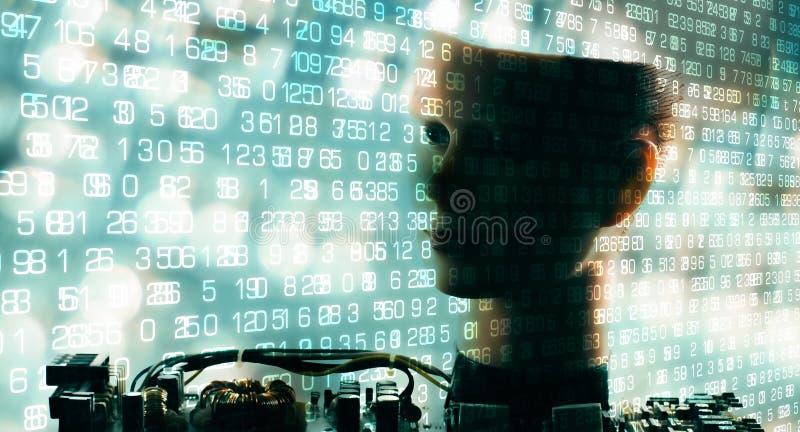 Μεγάλα ψηφία στοιχείων, επικοινωνία ρομπότ AI στοκ εικόνες