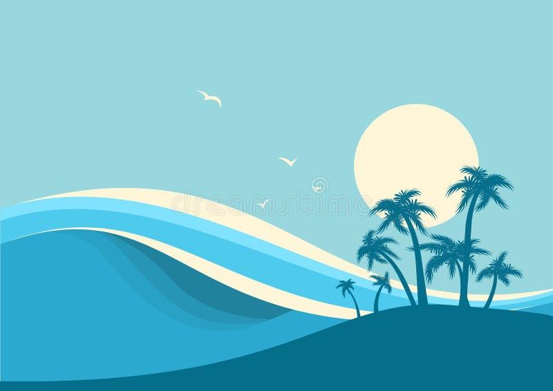 Μεγάλα ωκεάνια κύματα και τροπικό νησί Διανυσματικό μπλε υπόβαθρο ελεύθερη απεικόνιση δικαιώματος
