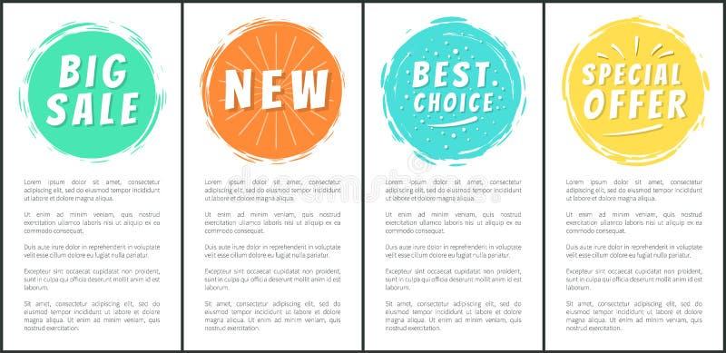 Μεγάλες πώλησης νέες ειδικές ετικέτες συνόλου επιλογής προσφοράς καλύτερες διανυσματική απεικόνιση