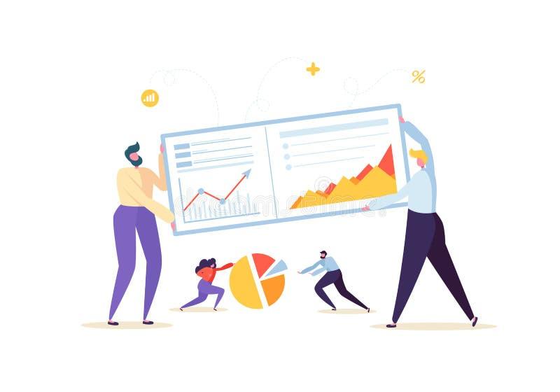 Μεγάλη έννοια στρατηγικής ανάλυσης στοιχείων Μάρκετινγκ Analytics με τους χαρακτήρες επιχειρηματιών που εργάζονται μαζί με τα δια απεικόνιση αποθεμάτων