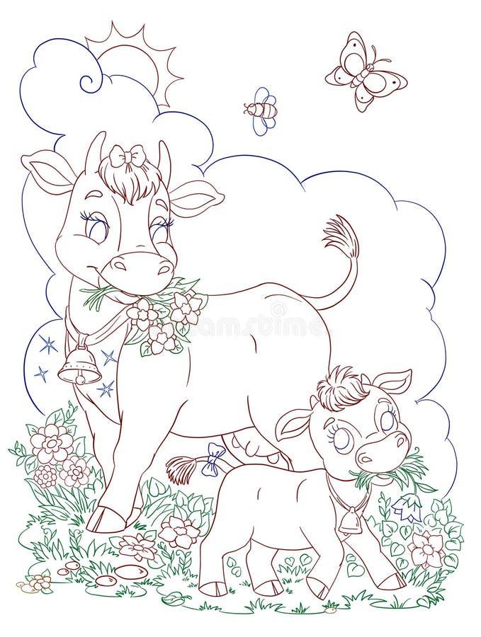 Μεγάλη αγελάδα και λίγος μόσχος στην τέχνη περιγράμματος θερινών flowery λιβαδιών διανυσματική απεικόνιση