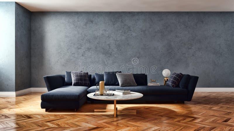 μεγάλη απεικόνιση καθιστικών εσωτερικού πολυτέλειας σύγχρονη φωτεινή τρισδιάστατη διανυσματική απεικόνιση