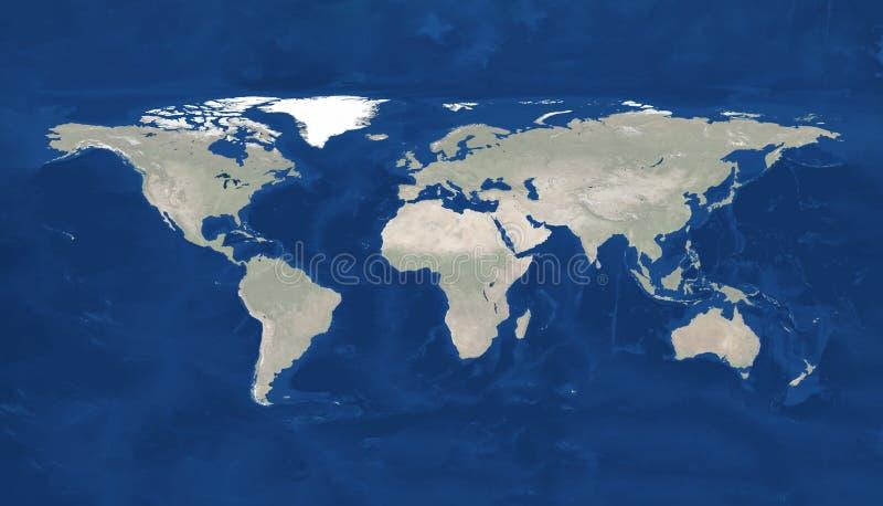 Μεγάλη απεικόνιση παγκόσμιων χαρτών μεγέθους φυσική Παγκόσμιος χάρτης, που απομονώνεται στο άσπρο υπόβαθρο Πρωταρχική πηγή, στοιχ διανυσματική απεικόνιση