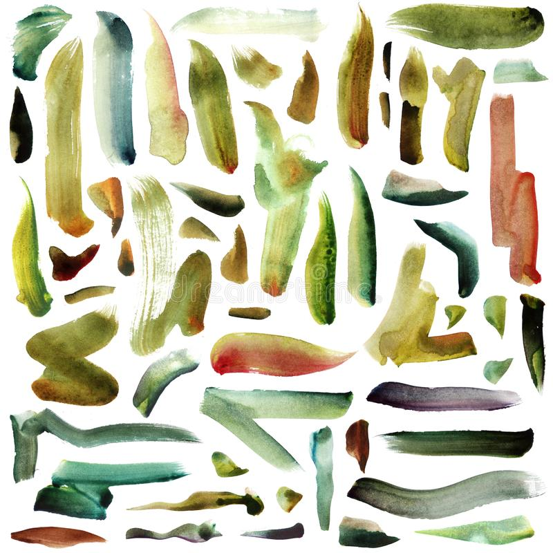 Μεγάλη απεικόνιση ράστερ τα πράσινα φωτεινά κτυπήματα watercolor βουρτσών πράσινος-κίτρινου, μεντών και χλόης που απομονώνονται μ διανυσματική απεικόνιση
