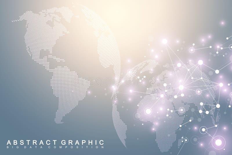Μεγάλη απεικόνιση στοιχείων με μια παγκόσμια σφαίρα Αφηρημένο διανυσματικό υπόβαθρο με τα δυναμικά κύματα Σύνδεση παγκόσμιων δικτ διανυσματική απεικόνιση