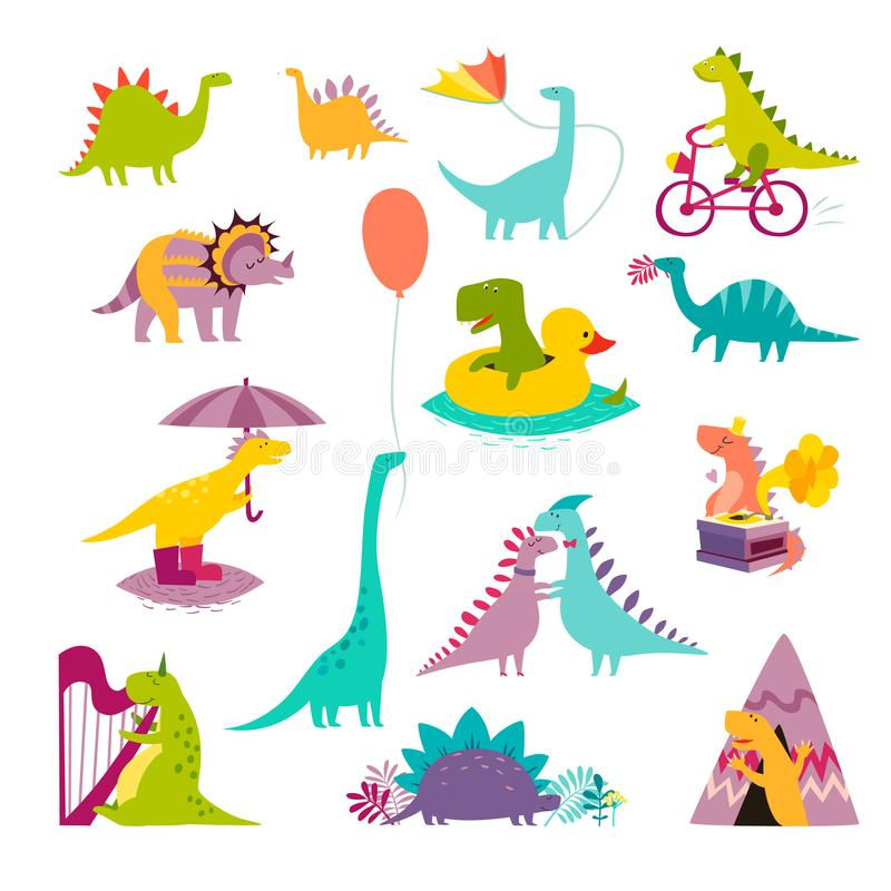 Μεγάλη αστεία καθορισμένη διανυσματική απεικόνιση δεινοσαύρων Χαριτωμένο ύφος κινούμενων σχεδίων τ -τ-rex ελεύθερη απεικόνιση δικαιώματος
