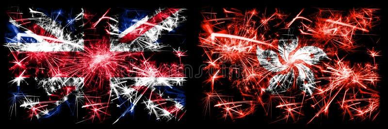 Μεγάλη Βρετανία, Ηνωμένο Βασίλειο εναντίον Χονγκ Κονγκ, Κίνα Πρωτοχρονιά εορτασμός ταξίδι με αστραπιαίες σημαίες πυροτεχνημάτων στοκ εικόνες με δικαίωμα ελεύθερης χρήσης