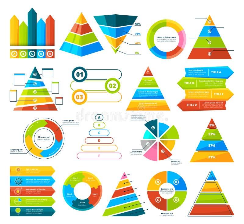 Μεγάλη διανυσματική συλλογή των infographic στοιχείων Διαγράμματα πιτών, γραφικές παραστάσεις, διάγραμμα και τρίγωνα απεικόνιση αποθεμάτων