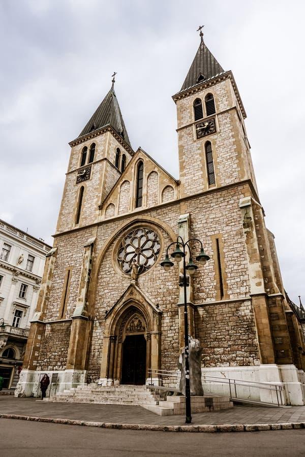 Μεγάλη εκκλησία στο κέντρο του Σαράγεβου, Βοσνία στοκ φωτογραφίες