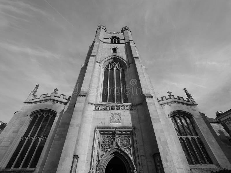 Μεγάλη εκκλησία του ST Mary στο Καίμπριτζ σε γραπτό στοκ εικόνες