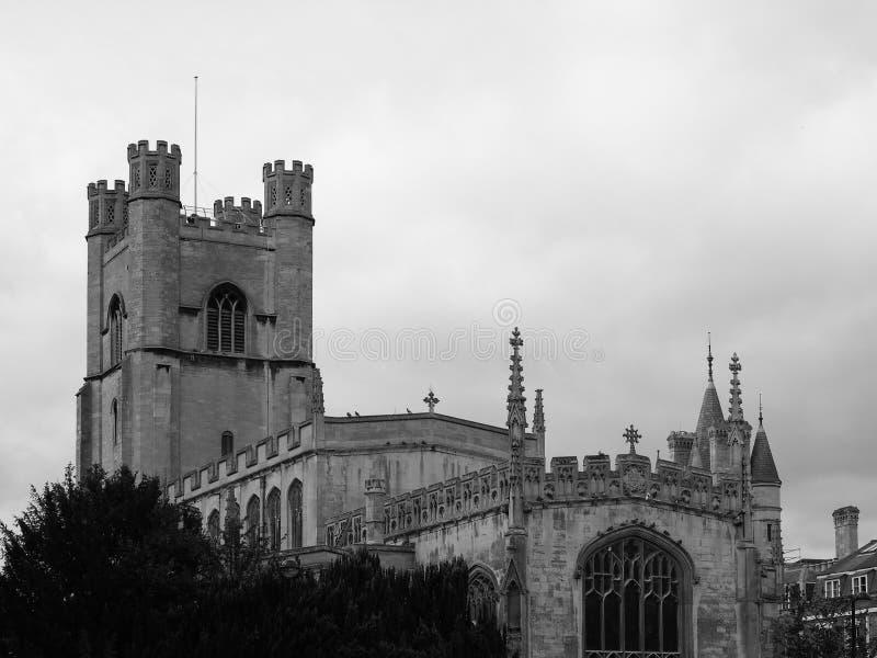 Μεγάλη εκκλησία του ST Mary στο Καίμπριτζ σε γραπτό στοκ εικόνες με δικαίωμα ελεύθερης χρήσης