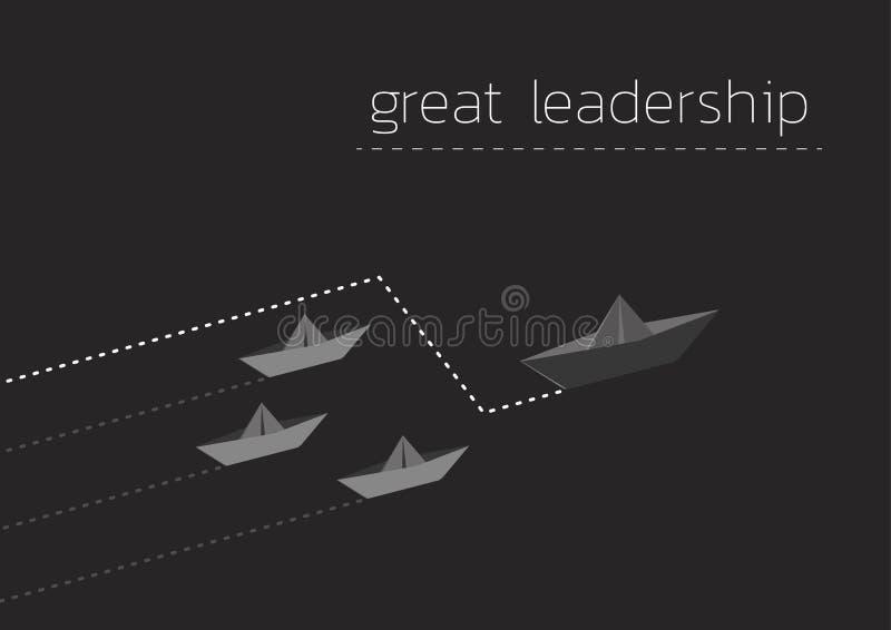 Μεγάλη ηγεσία με τη διπλωμένη βάρκα εγγράφου απεικόνιση αποθεμάτων