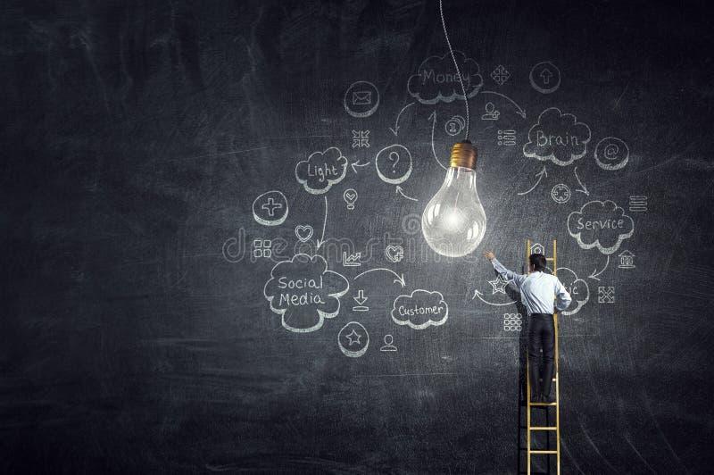 Μεγάλη ιδέα για την επίτευξη επιτυχίας Μικτά μέσα στοκ εικόνα με δικαίωμα ελεύθερης χρήσης