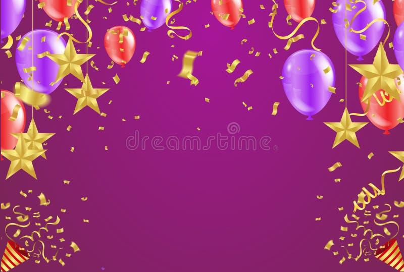 Μεγάλη κάρτα ανοίγματος με τα κόκκινους μπαλόνια αέρα και το χρυσό αστεριών ελεύθερη απεικόνιση δικαιώματος