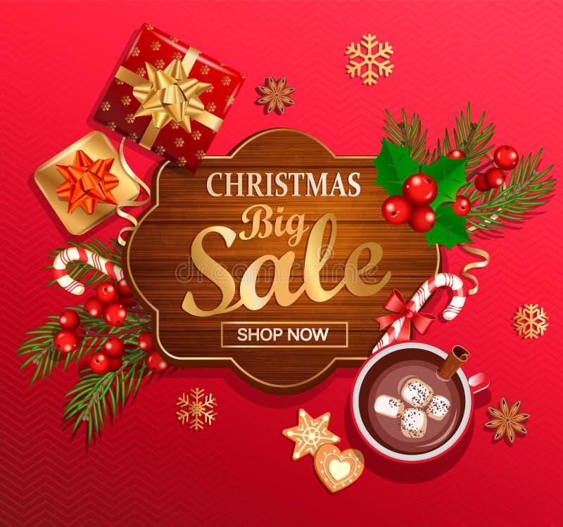 Μεγάλη κάρτα πώλησης Χριστουγέννων για τις νέες διακοπές έτους απεικόνιση αποθεμάτων