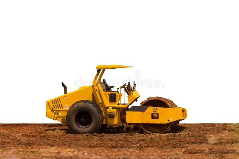 Μεγάλη κίτρινη μηχανή συμπιεστών κυλίνδρων οδικών ενιαία τυμπάνων που απομονώνεται στο άσπρο υπόβαθρο Έννοια κατασκευής και ανακα στοκ εικόνες