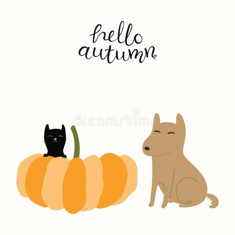 Μεγάλη κολοκύθα, λίγη μαύρη γάτα και χαριτωμένο σκυλί απεικόνιση αποθεμάτων