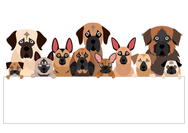 Μεγάλη ομάδα μαύρου σκυλιού ρυγχών με το whiteboard ελεύθερη απεικόνιση δικαιώματος