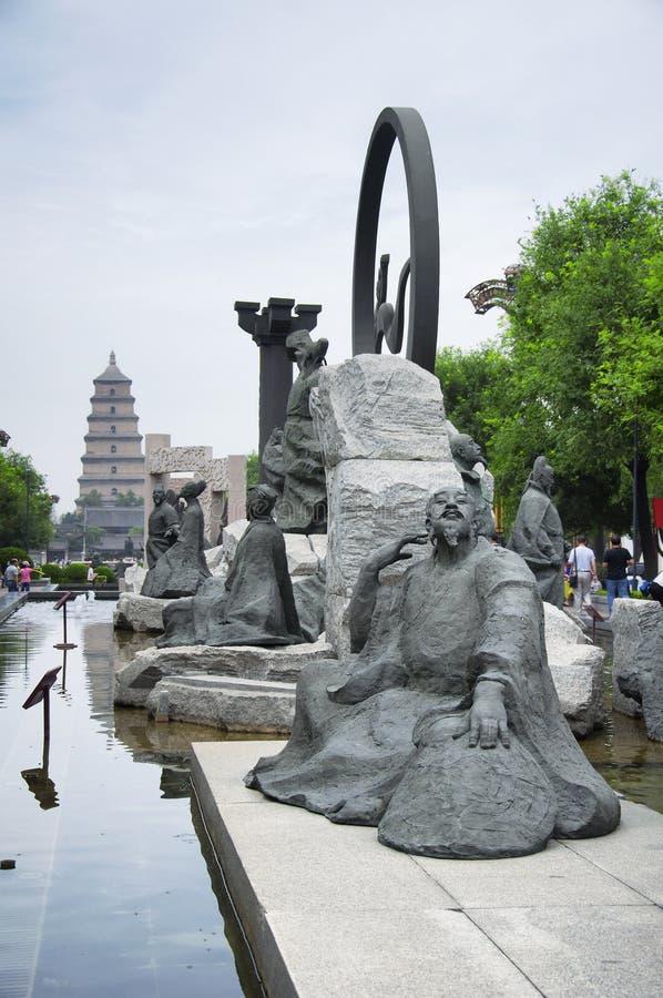 Μεγάλη περιοχή γλυπτών λεωφόρων γεύσης όλη την ημέρα xian στοκ φωτογραφία με δικαίωμα ελεύθερης χρήσης