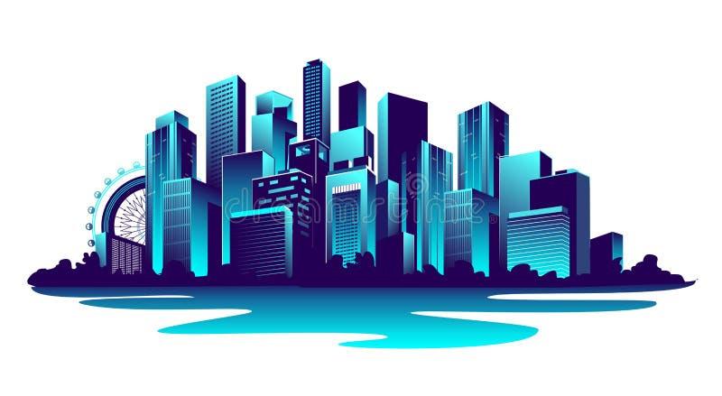 Μεγάλη πόλη νέου διανυσματική απεικόνιση