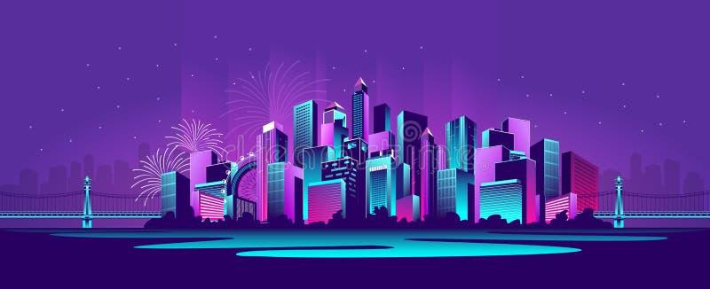 Μεγάλη πόλη νέου ελεύθερη απεικόνιση δικαιώματος