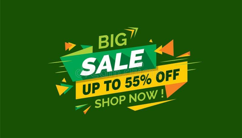 Μεγάλη πώληση, ζωηρόχρωμη ετικέτα εμβλημάτων πώλησης, κάρτα πώλησης Promo ελεύθερη απεικόνιση δικαιώματος