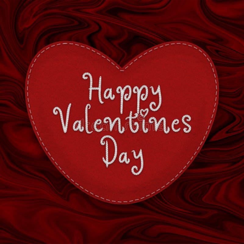 Μεγάλη ραμμένη επάνω καρδιά βαλεντίνων ` s φιαγμένη από αισθητός σε ένα κόκκινο αφηρημένο υπόβαθρο διανυσματική απεικόνιση