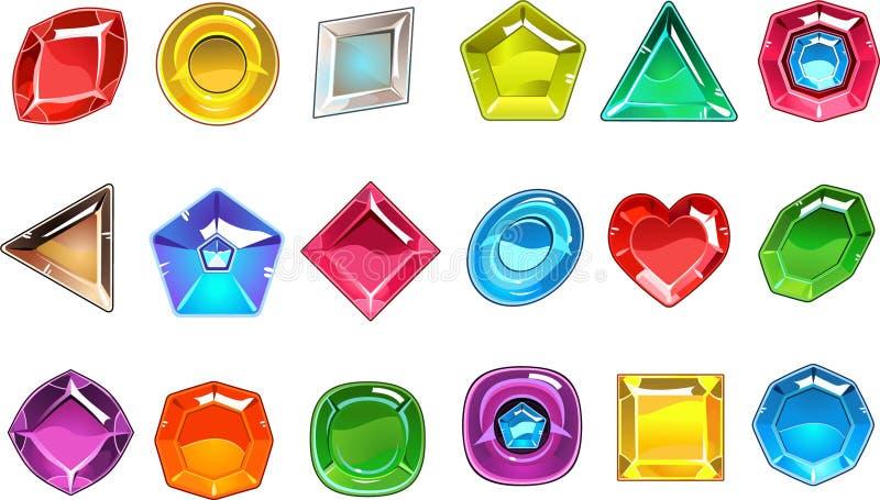 Μεγάλη συλλογή των ζωηρόχρωμων πολύτιμων πετρών στις διαφορετικές μορφές Τετράγωνο, κύκλος, αχλάδι που διαμορφώνονται, τριγωνικοί απεικόνιση αποθεμάτων