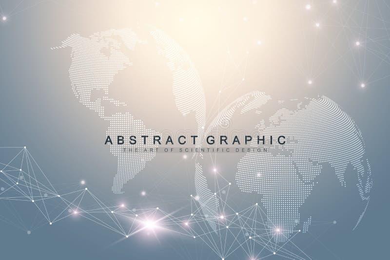 Μεγάλη σύνθετη παγκόσμια σφαίρα στοιχείων Γραφική αφηρημένη επικοινωνία υποβάθρου Σκηνικό προοπτικής του βάθους Εικονικός ελάχιστ διανυσματική απεικόνιση