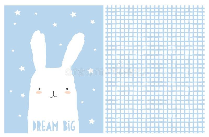 Μεγάλη τέχνη βρεφικών σταθμών ονείρου Χαριτωμένη άσπρη διανυσματική απεικόνιση λαγουδάκι Ανώμαλο άσπρο και μπλε σχέδιο πλέγματος ελεύθερη απεικόνιση δικαιώματος