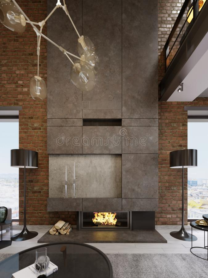 Μεγάλη υψηλή συγκεκριμένη εστία με ενσωματωμένο firebox με το κάψιμο της πυρκαγιάς Δύο μαύροι λαμπτήρες πατωμάτων απεικόνιση αποθεμάτων