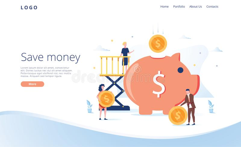 Μεγάλη piggy τράπεζα με τους επιχειρηματίες και το χρυσό νόμισμα Οι χρηματοπιστωτικές υπηρεσίες, μικροί τραπεζίτες συμμετέχουν στ διανυσματική απεικόνιση