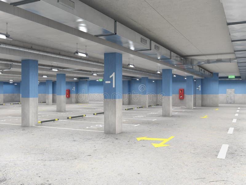 Μεγάλος, άδειος, καλά φωτισμένος υπόγειος χώρος στάθμευσης απεικόνιση αποθεμάτων