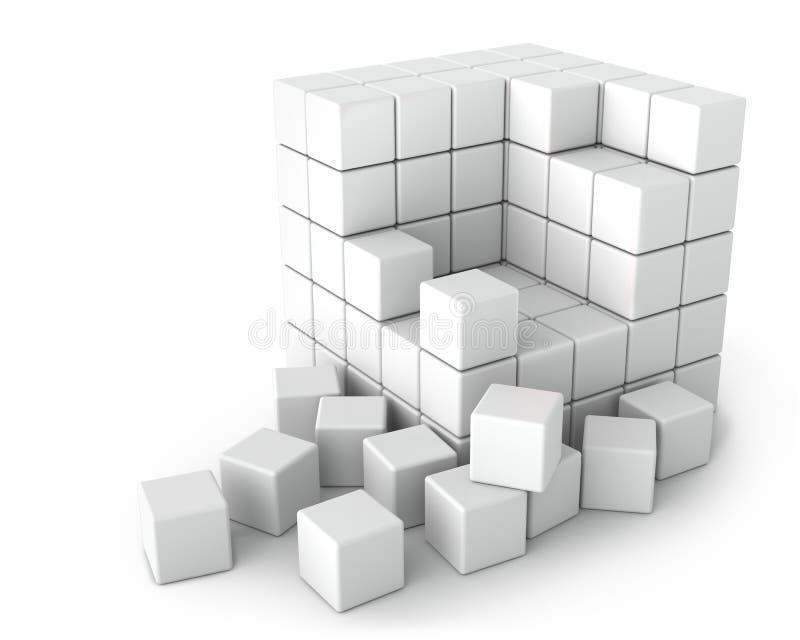 Μεγάλος άσπρος κύβος των μικρών κύβων στην άσπρη ανασκόπηση απεικόνιση αποθεμάτων