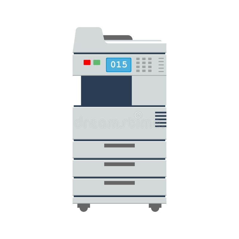 Μεγάλος ανιχνευτής ή αντιγραφέας εκτυπωτών γραφείων πολλών χρήσεων εικονίδιο εκτυπωτών γραφείων Επίπεδη διανυσματική απεικόνιση χ διανυσματική απεικόνιση