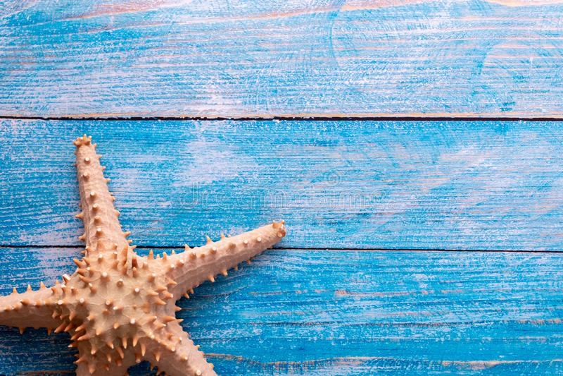Μεγάλος αστερίας στο μπλε ξύλινο κατασκευασμένο υπόβαθρο στοκ φωτογραφία με δικαίωμα ελεύθερης χρήσης