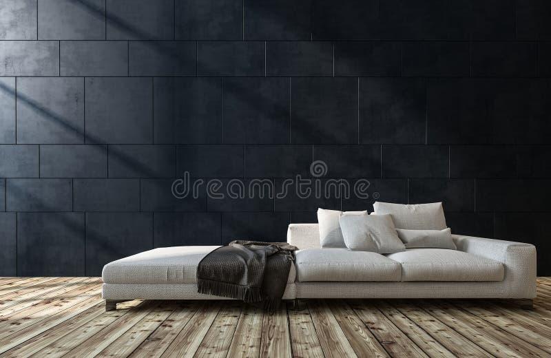 Μεγάλος γενικός άσπρος καναπές σε ένα καθιστικό απεικόνιση αποθεμάτων