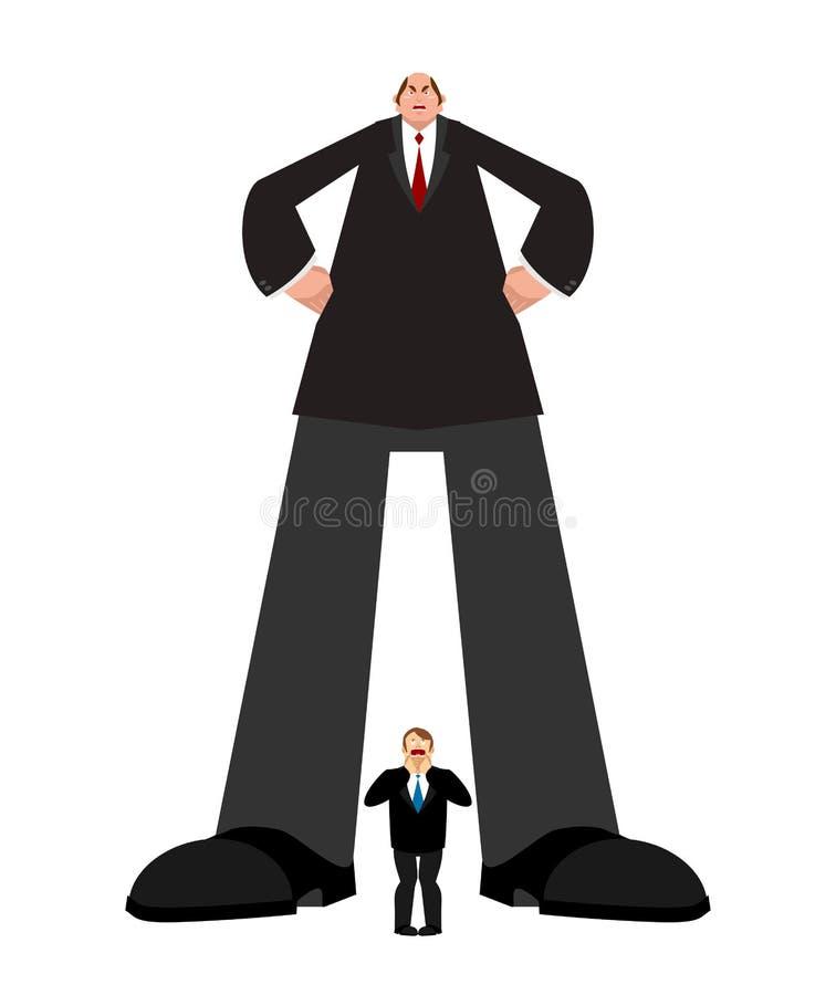 Μεγάλος κύριος και μικρός κατώτερος Τεράστιος επιχειρηματίας και λίγη εργασία απεικόνιση αποθεμάτων