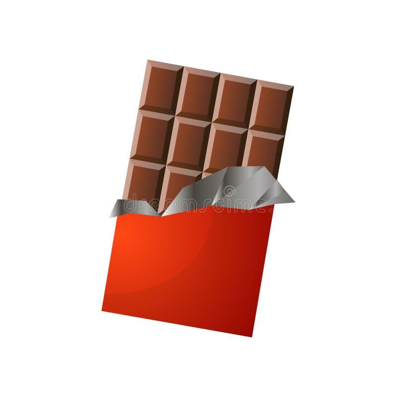 Μεγάλος μεγέθους φραγμός της σοκολάτας γάλακτος στην κόκκινη συσκευασία απεικόνιση αποθεμάτων