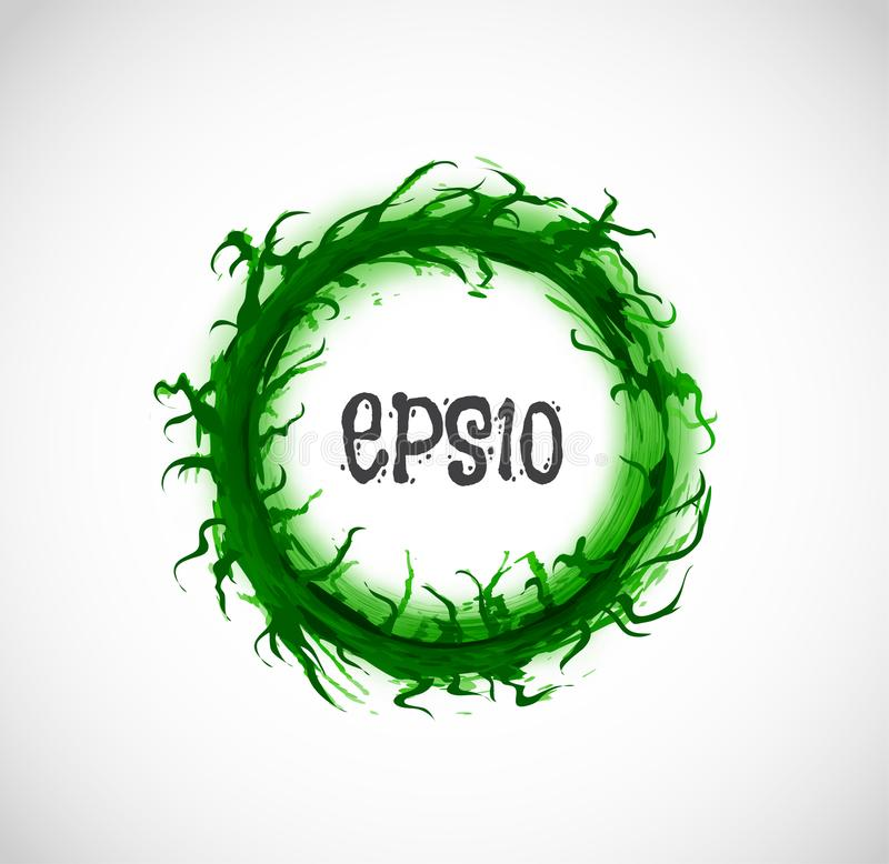 Μεγάλος πράσινος κύκλος grunge με τη θέση για το κείμενό σας στο άσπρο υπόβαθρο επίσης corel σύρετε το διάνυσμα απεικόνισης διανυσματική απεικόνιση