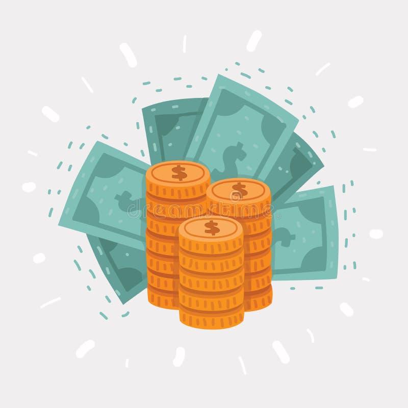 Μεγάλος σωρός των χρυσών νομισμάτων και του δολαρίου ελεύθερη απεικόνιση δικαιώματος