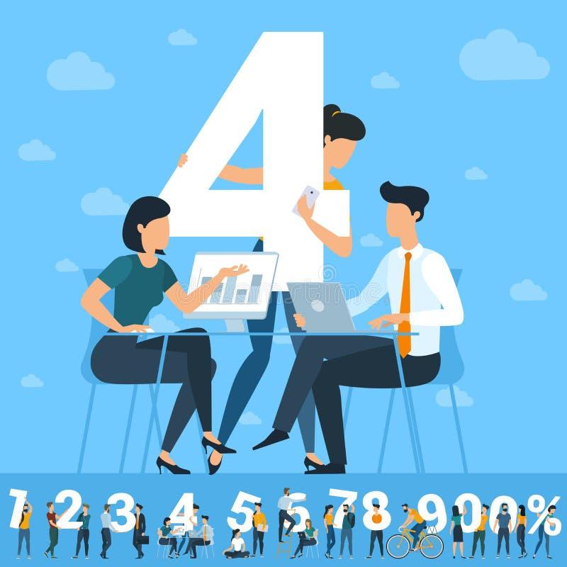 Μεγάλος τέσσερις αριθμός Άσπρη απεικόνιση αριθμών με τους νέους απεικόνιση αποθεμάτων