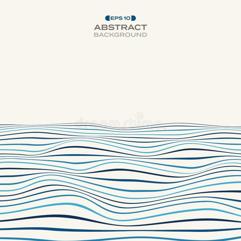 Μεγάλος του επιπέδου χρώματος μπλε κυματιστού σχεδίου γραμμών λωρίδων backgroun διανυσματική απεικόνιση