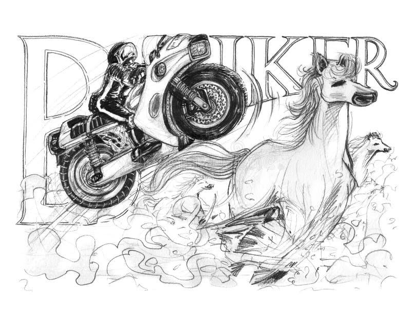 Μεγάλο άλμα σκι ποδηλάτων με να ενεργήσει αλόγων το τρέχοντας σχέδιο σχεδίων διανυσματική απεικόνιση