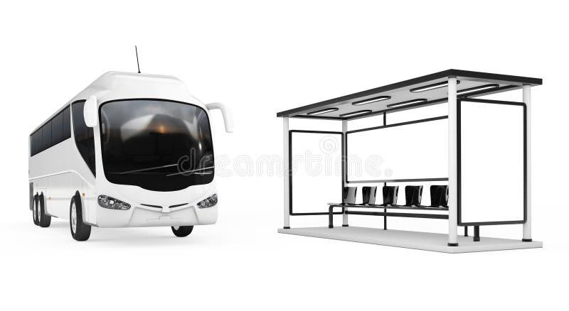 Μεγάλο άσπρο τουριστηκό λεωφορείο λεωφορείων κοντά στη στάση λεωφορείου τρισδιάστατη απόδοση διανυσματική απεικόνιση