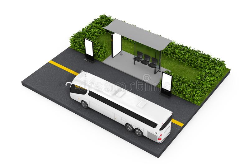 Μεγάλο άσπρο τουριστηκό λεωφορείο λεωφορείων κοντά στο σταθμό στάσεων λεωφορείου με κενό Billbo απεικόνιση αποθεμάτων