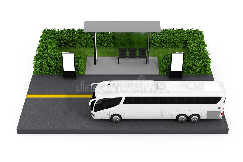 Μεγάλο άσπρο τουριστηκό λεωφορείο λεωφορείων κοντά στο σταθμό στάσεων λεωφορείου με κενό Billbo ελεύθερη απεικόνιση δικαιώματος