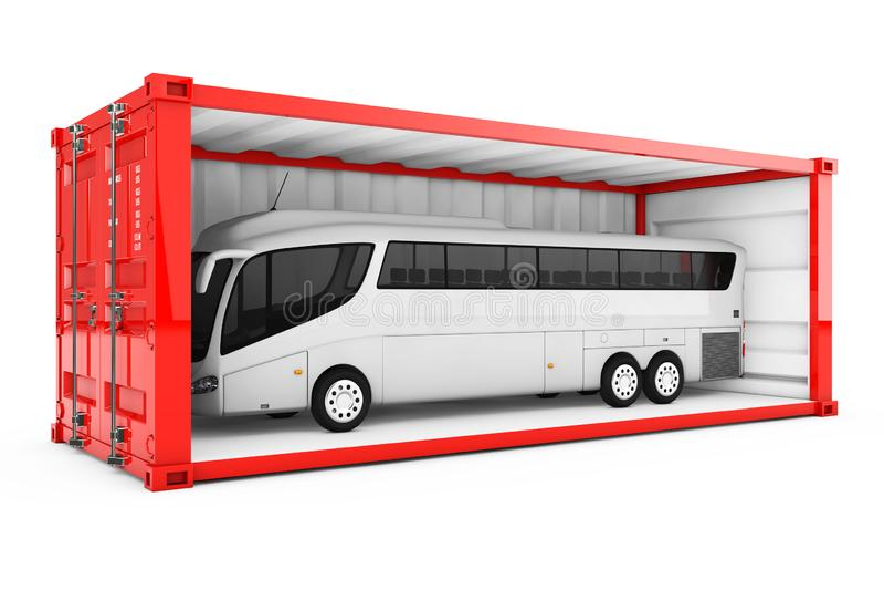 Μεγάλο άσπρο τουριστηκό λεωφορείο λεωφορείων στο κόκκινο μεταφορικό κιβώτιο με αφαιρούμενος ελεύθερη απεικόνιση δικαιώματος