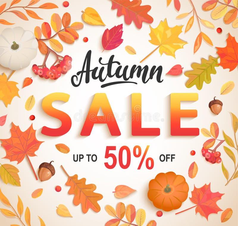 Μεγάλο έμβλημα πώλησης φθινοπώρου, κάρτα έκπτωσης 50 τοις εκατό απεικόνιση αποθεμάτων