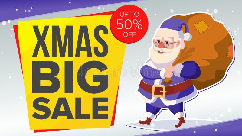 Μεγάλο έμβλημα πώλησης Χριστουγέννων με ευτυχή Άγιο Βασίλη διάνυσμα Απεικόνιση επιχειρησιακής διαφήμισης Σχέδιο για τον Ιστό, ιπτ απεικόνιση αποθεμάτων